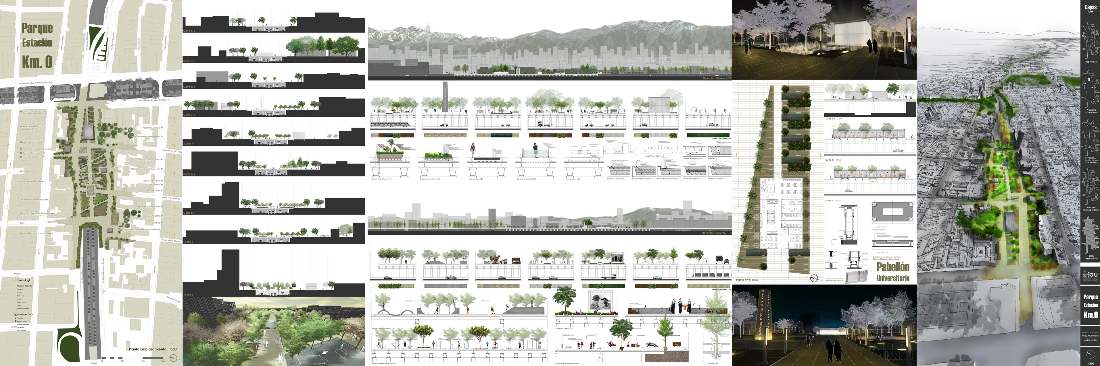 Parque estaci n km 0 configuraci n de espacio p blico for Laminas arquitectura